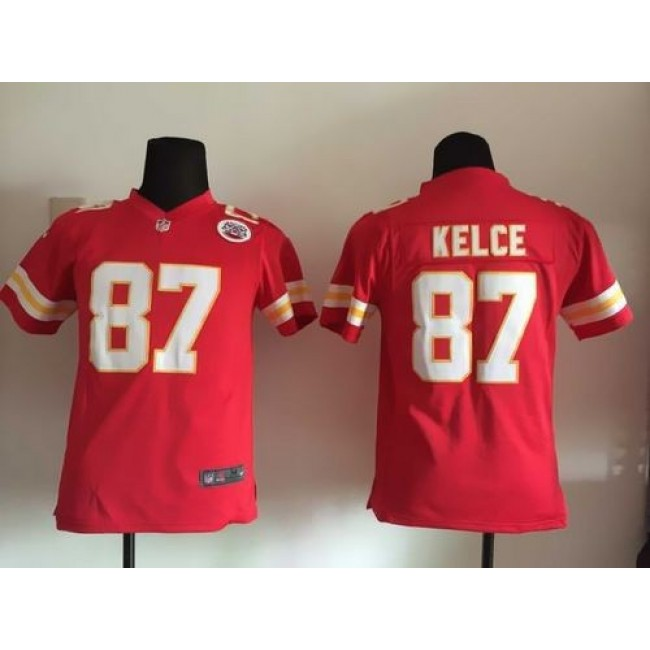 Kansas City Chiefs #87 Travis Kelce Red Team Color Youth Stitched NFL Elite Jersey