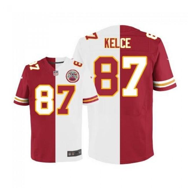 Nike Chiefs #87 Travis Kelce Red/White Men's Stitched NFL Elite Split Jersey