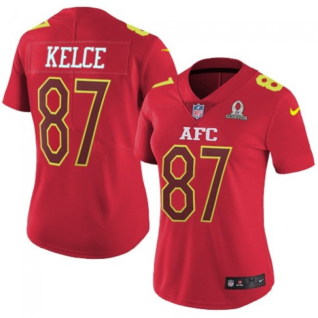 Women's Chiefs #87 Travis Kelce Red Stitched NFL Limited AFC 2017 Pro Bowl Jersey