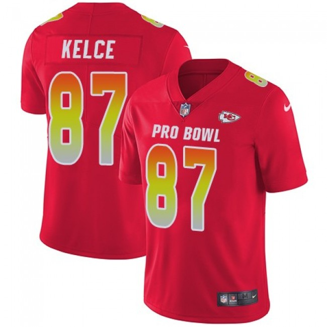 Kansas City Chiefs #87 Travis Kelce Red Youth Stitched NFL Limited AFC 2018 Pro Bowl Jersey