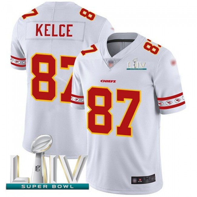 Nike Chiefs #87 Travis Kelce White Super Bowl LIV 2020 Men's Stitched NFL Limited Team Logo Fashion Jersey