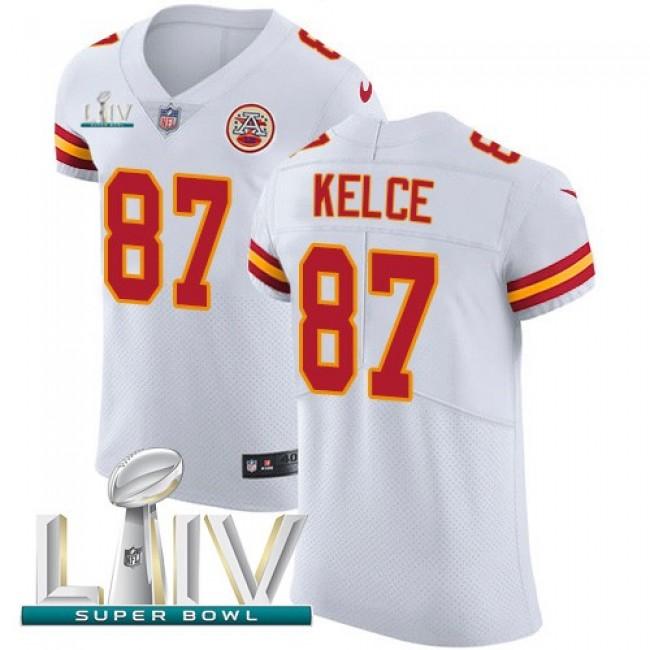 Nike Chiefs #87 Travis Kelce White Super Bowl LIV 2020 Men's Stitched NFL New Elite Jersey