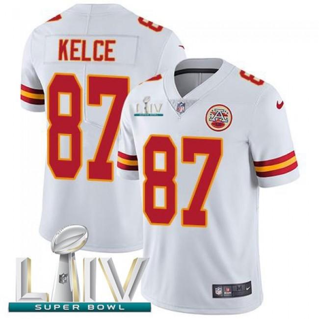 Nike Chiefs #87 Travis Kelce White Super Bowl LIV 2020 Men's Stitched NFL Vapor Untouchable Limited Jersey