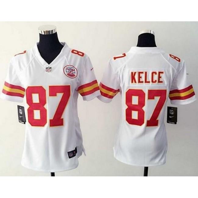 Women's Chiefs #87 Travis Kelce White Stitched NFL Elite Jersey
