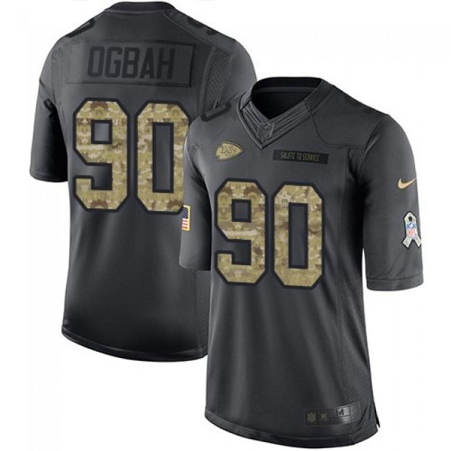 Nike Chiefs #90 Emmanuel Ogbah Black Men's Stitched NFL Limited 2016 Salute to Service Jersey