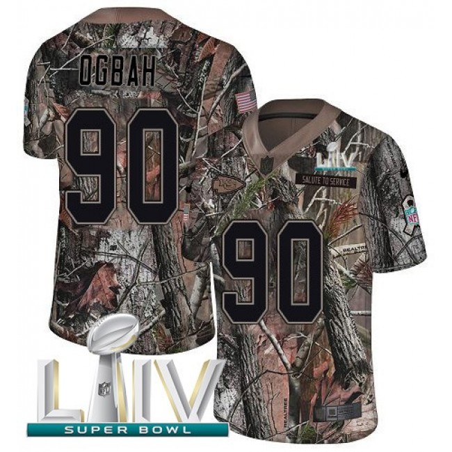 Nike Chiefs #90 Emmanuel Ogbah Camo Super Bowl LIV 2020 Men's Stitched NFL Limited Rush Realtree Jersey