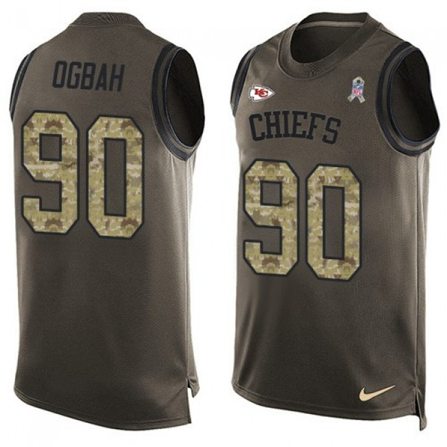 Nike Chiefs #90 Emmanuel Ogbah Green Men's Stitched NFL Limited Salute To Service Tank Top Jersey