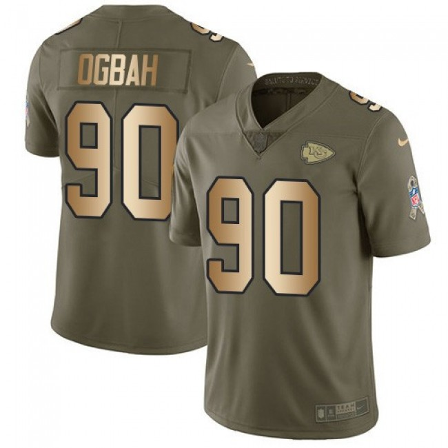 Nike Chiefs #90 Emmanuel Ogbah Olive/Gold Men's Stitched NFL Limited 2017 Salute To Service Jersey