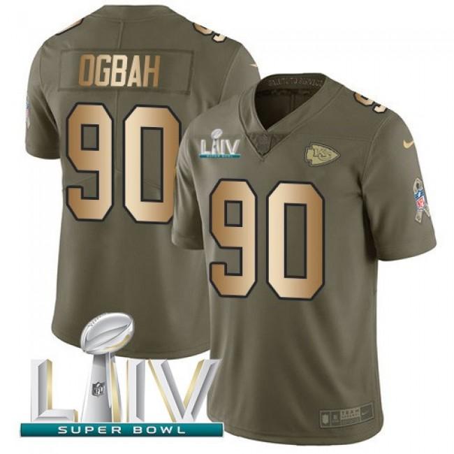 Nike Chiefs #90 Emmanuel Ogbah Olive/Gold Super Bowl LIV 2020 Men's Stitched NFL Limited 2017 Salute To Service Jersey