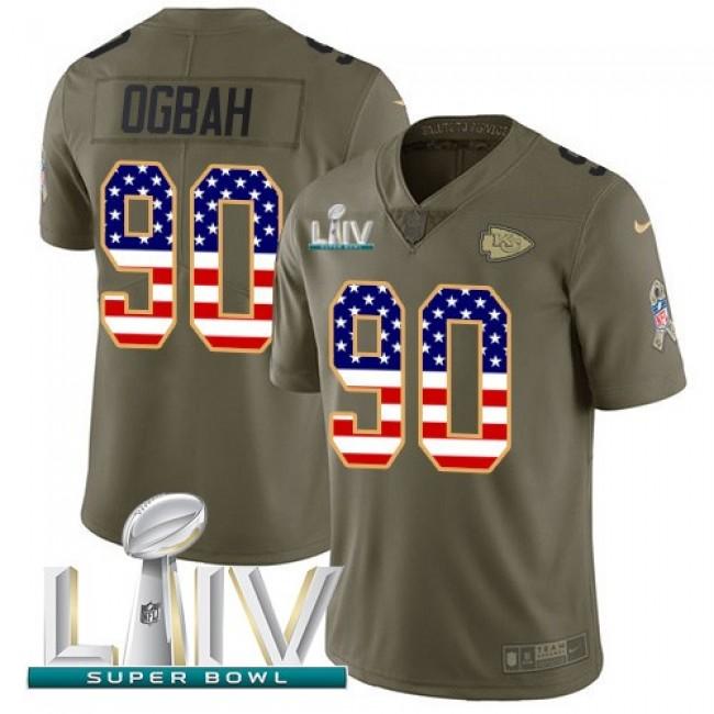Nike Chiefs #90 Emmanuel Ogbah Olive/USA Flag Super Bowl LIV 2020 Men's Stitched NFL Limited 2017 Salute To Service Jersey