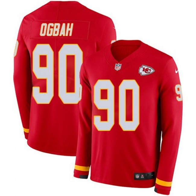Nike Chiefs #90 Emmanuel Ogbah Red Team Color Men's Stitched NFL Limited Therma Long Sleeve Jersey