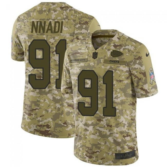 Nike Chiefs #91 Derrick Nnadi Camo Men's Stitched NFL Limited 2018 Salute To Service Jersey