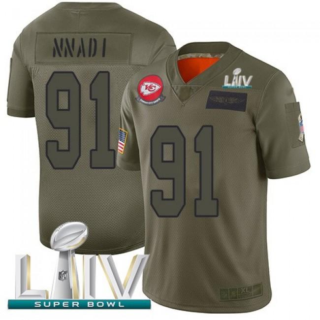 Nike Chiefs #91 Derrick Nnadi Camo Super Bowl LIV 2020 Men's Stitched NFL Limited 2019 Salute To Service Jersey