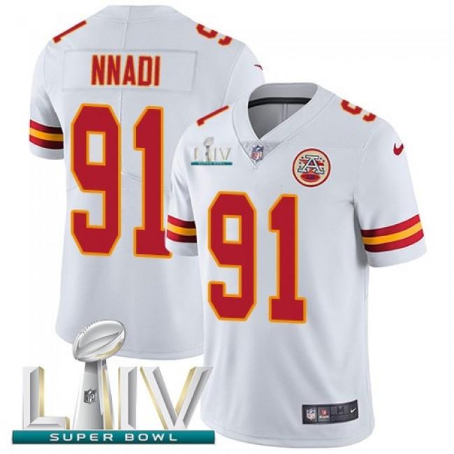 Nike Chiefs #91 Derrick Nnadi White Super Bowl LIV 2020 Men's Stitched NFL Vapor Untouchable Limited Jersey