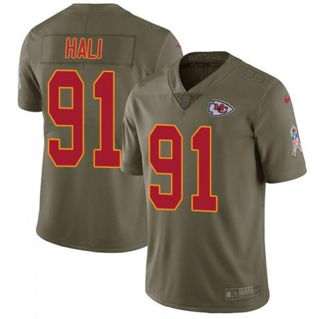Kansas City Chiefs #91 Tamba Hali Olive Youth Stitched NFL Limited 2017 Salute to Service Jersey