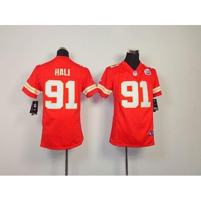 Kansas City Chiefs #91 Tamba Hali Red Team Color Youth Stitched NFL Elite Jersey