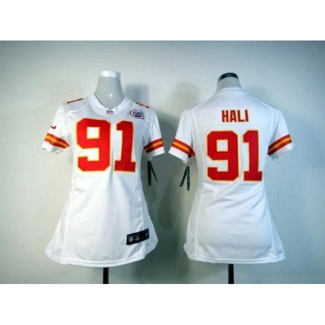 Women's Chiefs #91 Tamba Hali White Stitched NFL Elite Jersey
