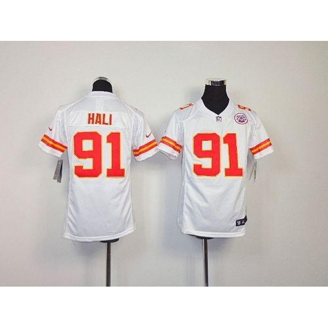 Kansas City Chiefs #91 Tamba Hali White Youth Stitched NFL Elite Jersey