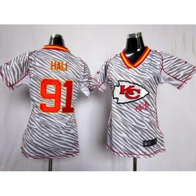 Women's Chiefs #91 Tamba Hali Zebra Stitched NFL Elite Jersey