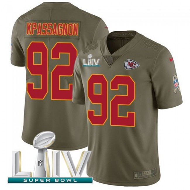 Nike Chiefs #92 Tanoh Kpassagnon Olive Super Bowl LIV 2020 Men's Stitched NFL Limited 2017 Salute To Service Jersey