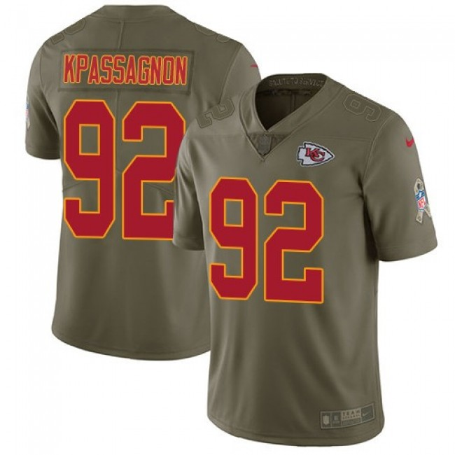 Kansas City Chiefs #92 Tanoh Kpassagnon Olive Youth Stitched NFL Limited 2017 Salute to Service Jersey