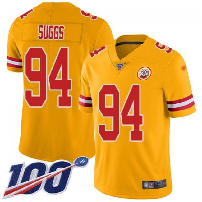 Nike Chiefs #94 Terrell Suggs Gold Men's Stitched NFL Limited Inverted Legend 100th Season Jersey