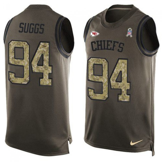 Nike Chiefs #94 Terrell Suggs Green Men's Stitched NFL Limited Salute To Service Tank Top Jersey