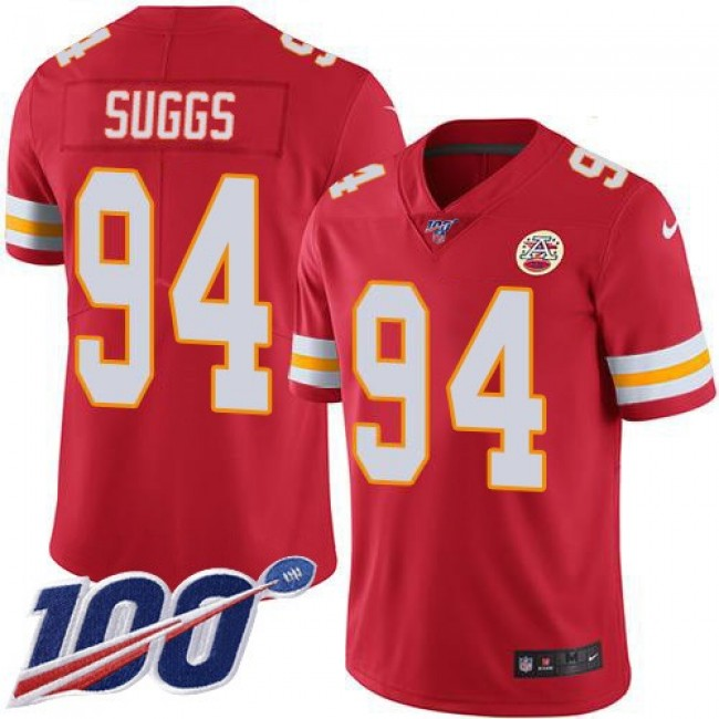 Nike Chiefs #94 Terrell Suggs Red Team Color Men's Stitched NFL 100th Season Vapor Untouchable Limited Jersey