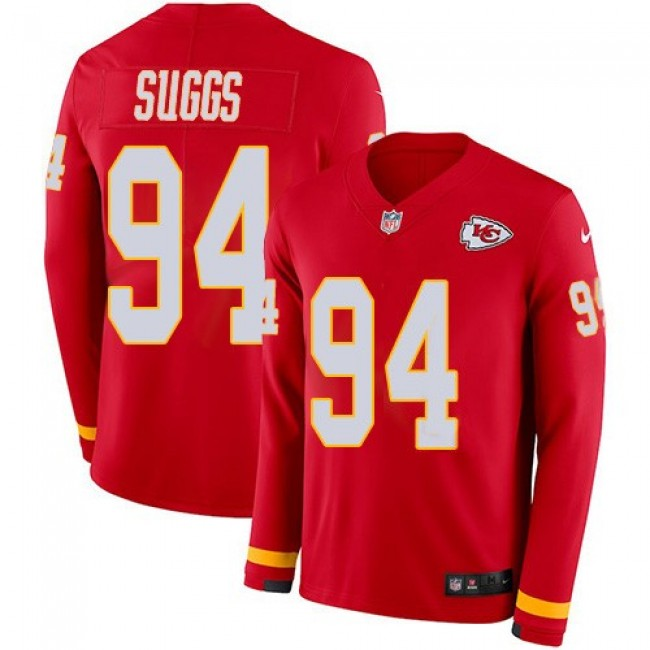 Nike Chiefs #94 Terrell Suggs Red Team Color Men's Stitched NFL Limited Therma Long Sleeve Jersey