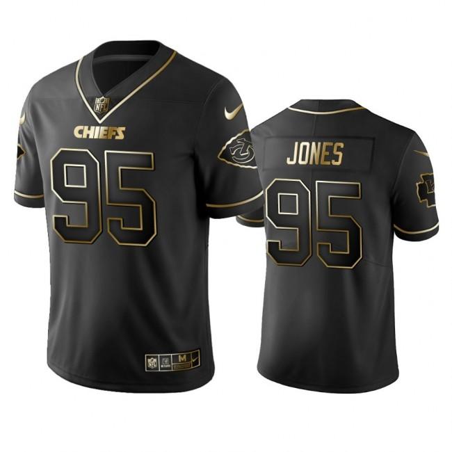 Nike Chiefs #95 Chris Jones Black Golden Limited Edition Stitched NFL Jersey