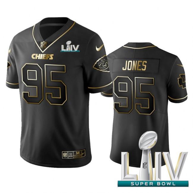 Nike Chiefs #95 Chris Jones Black Golden Super Bowl LIV 2020 Limited Edition Stitched NFL Jersey