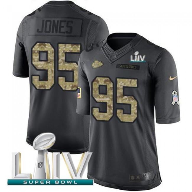 Nike Chiefs #95 Chris Jones Black Super Bowl LIV 2020 Men's Stitched NFL Limited 2016 Salute to Service Jersey