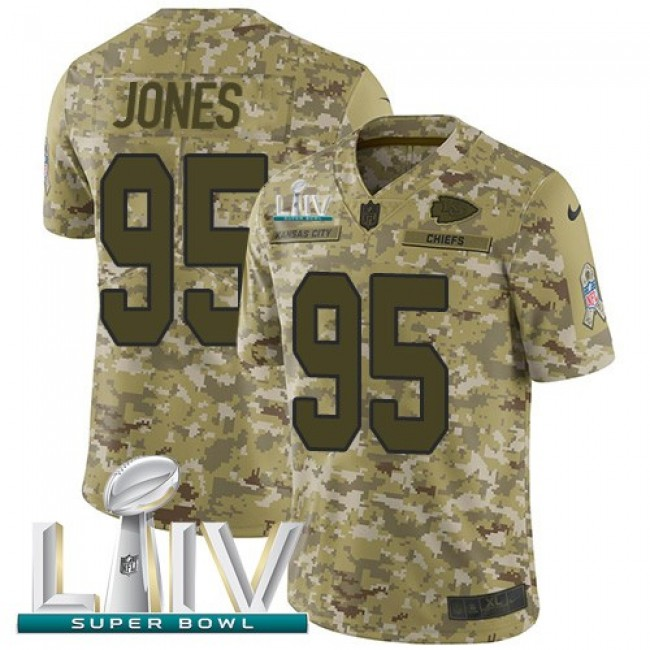 Nike Chiefs #95 Chris Jones Camo Super Bowl LIV 2020 Men's Stitched NFL Limited 2018 Salute To Service Jersey