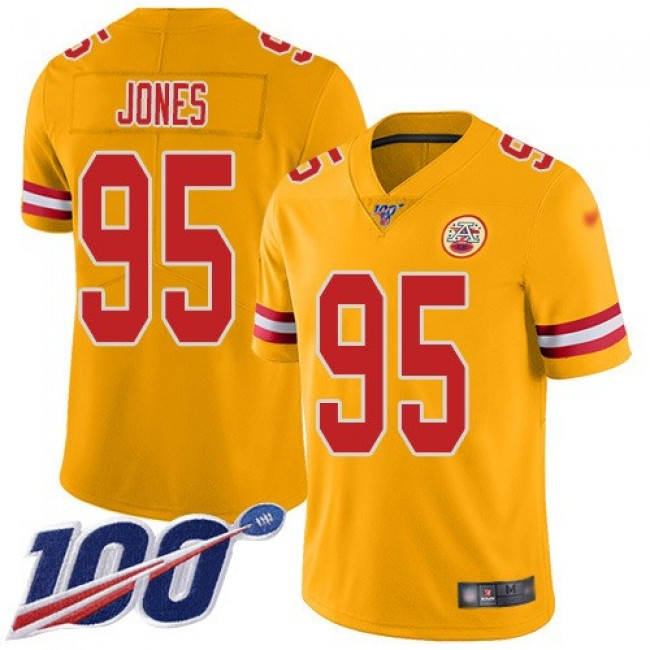 Nike Chiefs #95 Chris Jones Gold Men's Stitched NFL Limited Inverted Legend 100th Season Jersey