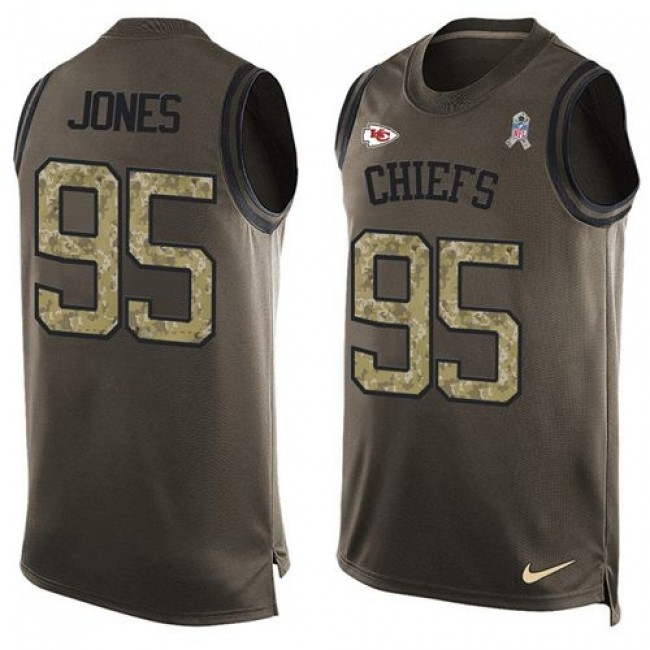 Nike Chiefs #95 Chris Jones Green Men's Stitched NFL Limited Salute To Service Tank Top Jersey