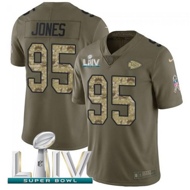 Nike Chiefs #95 Chris Jones Olive/Camo Super Bowl LIV 2020 Men's Stitched NFL Limited 2017 Salute To Service Jersey
