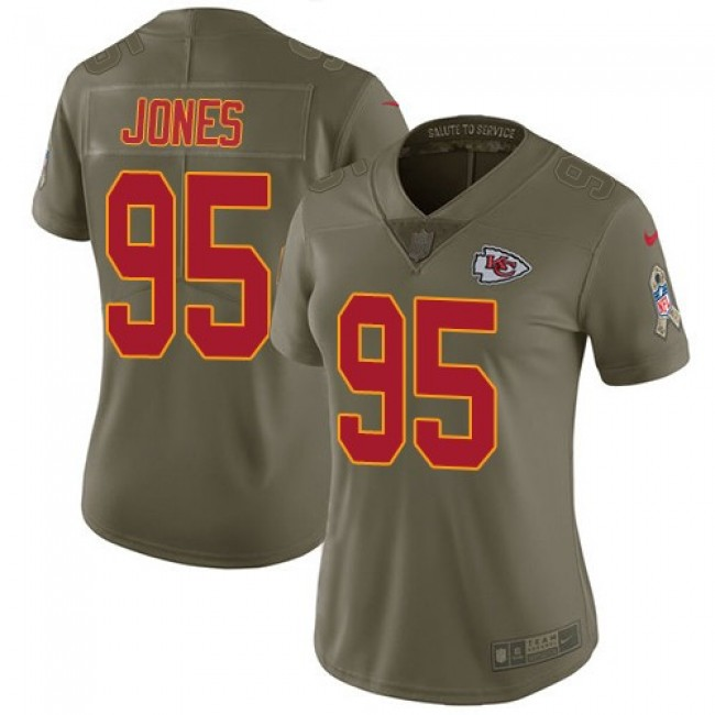 Women's Chiefs #95 Chris Jones Olive Stitched NFL Limited 2017 Salute to Service Jersey