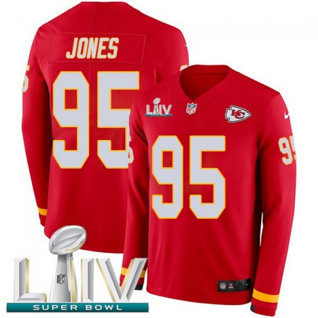 Nike Chiefs #95 Chris Jones Red Super Bowl LIV 2020 Team Color Men's Stitched NFL Limited Therma Long Sleeve Jersey