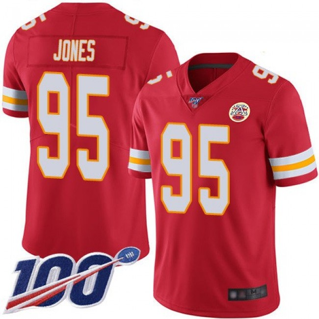 Nike Chiefs #95 Chris Jones Red Team Color Men's Stitched NFL 100th Season Vapor Limited Jersey