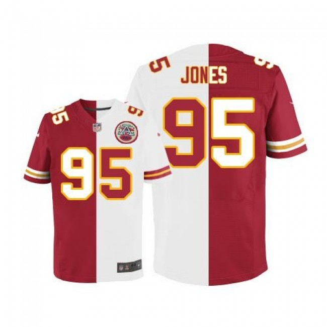 Nike Chiefs #95 Chris Jones Red/White Men's Stitched NFL Elite Split Jersey