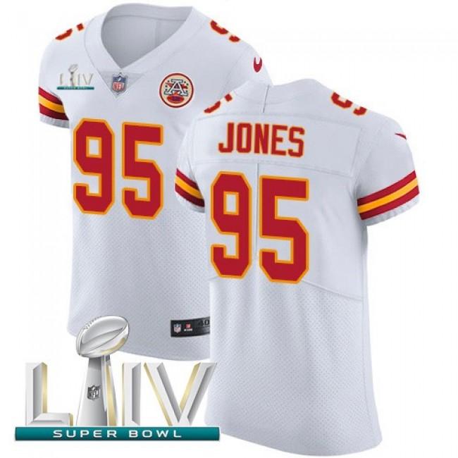 Nike Chiefs #95 Chris Jones White Super Bowl LIV 2020 Men's Stitched NFL New Elite Jersey