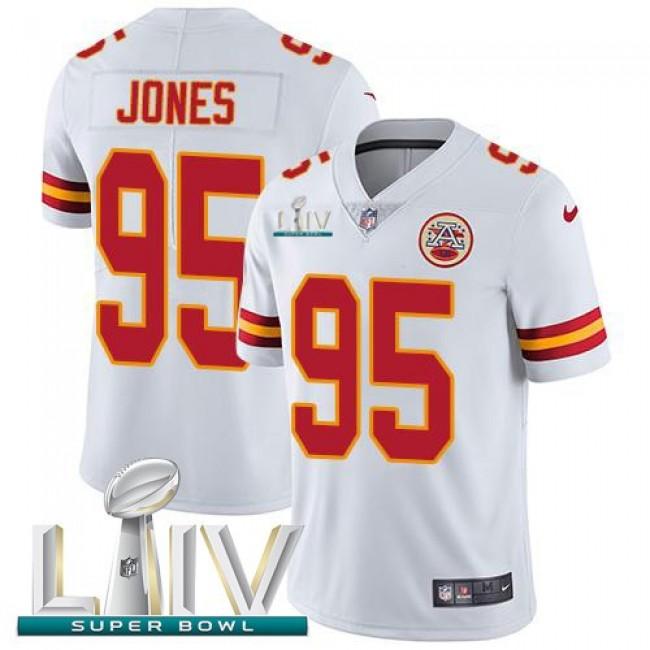 Nike Chiefs #95 Chris Jones White Super Bowl LIV 2020 Men's Stitched NFL Vapor Untouchable Limited Jersey