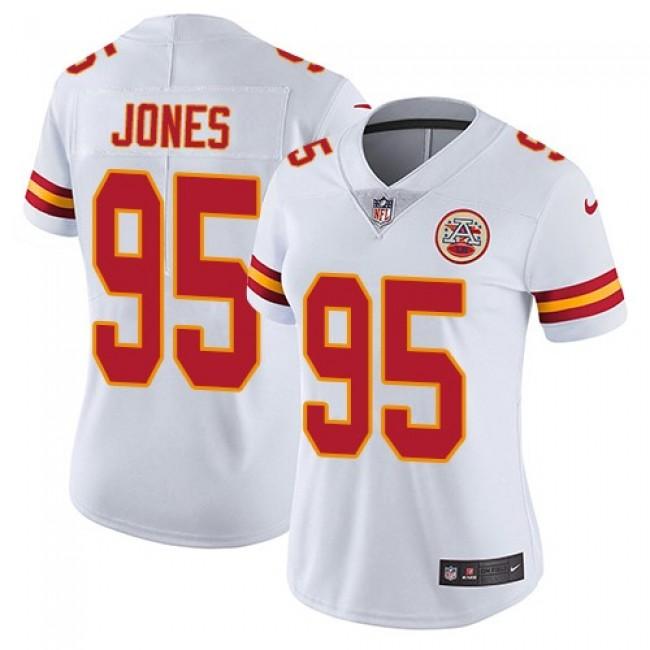 Women's Chiefs #95 Chris Jones White Stitched NFL Vapor Untouchable Limited Jersey