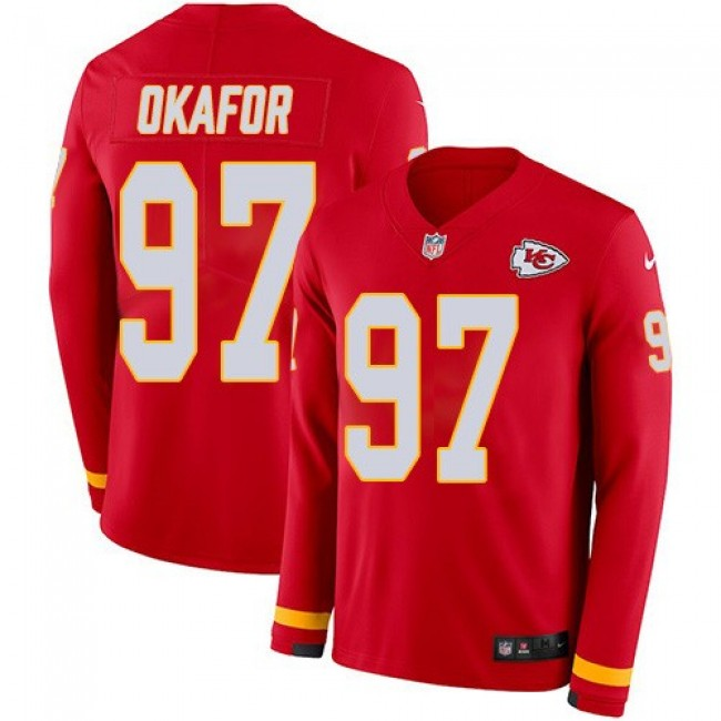 Nike Chiefs #97 Alex Okafor Red Team Color Men's Stitched NFL Limited Therma Long Sleeve Jersey
