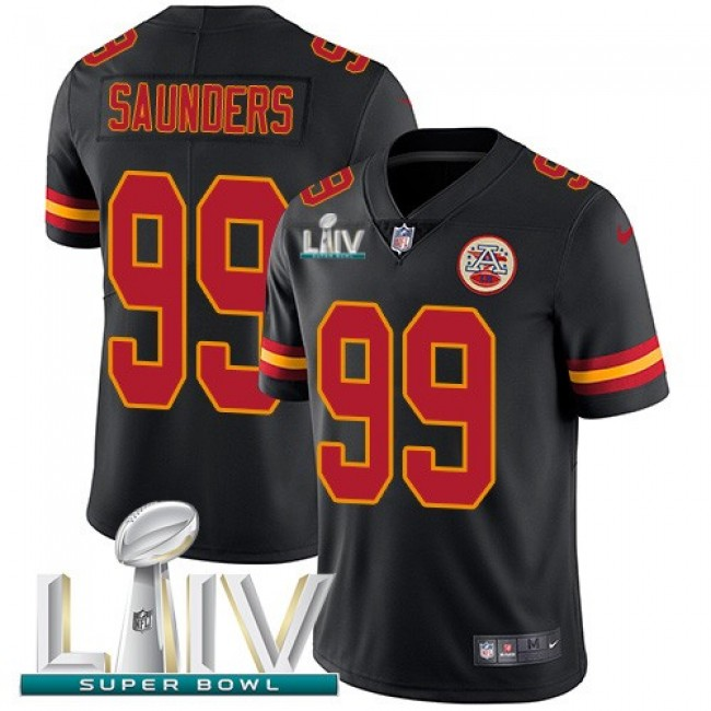 Nike Chiefs #99 Khalen Saunders Black Super Bowl LIV 2020 Men's Stitched NFL Limited Rush Jersey