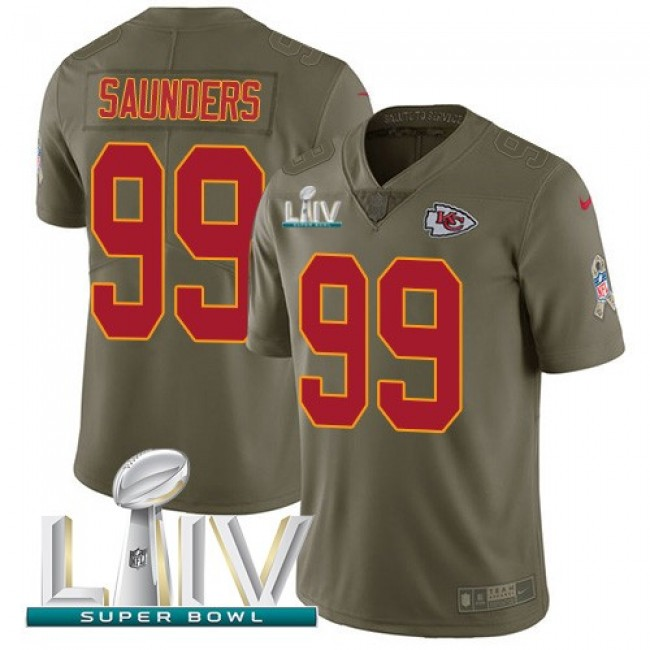 Nike Chiefs #99 Khalen Saunders Olive Super Bowl LIV 2020 Men's Stitched NFL Limited 2017 Salute To Service Jersey