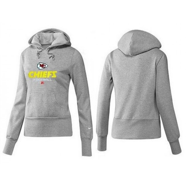 Women's Kansas City Chiefs Authentic Logo Pullover Hoodie Grey Jersey