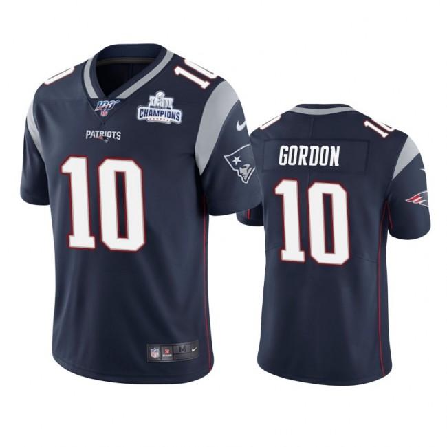 New England Patriots #10 Josh Gordon Navy Super Bowl LIII Champions Vapor Limited NFL Jersey