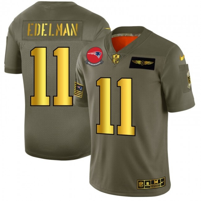 New England Patriots #11 Julian Edelman NFL Men's Nike Olive Gold 2019 Salute to Service Limited Jersey
