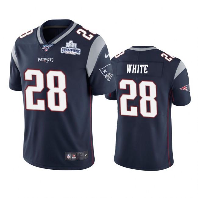 New England Patriots #28 James White Navy Super Bowl LIII Champions Vapor Limited NFL Jersey